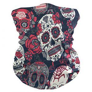 QMIN Bandeau Bandeau Tête de Mort en Sucre Rose Floral Bandana Visage Protection Soleil Masque Cagoule Magique Cagoule pour Femmes Hommes Garçons Filles (QMIN, neuf)