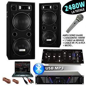 IBIZA SOUND SONO DJ 2480W avec 2 ENCEINTES 1000W + AMPLI 480W + MICRO + TABLE DE MIXAGE IBIZA SOUND DJM idéal soirée dansante bar club pub (Starmix, neuf)