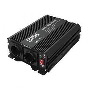 ERAYAK 1500W Convertisseur Transformateur de DC 12V à AC 230V, TUV Certifié, 2.1A Ports USB, Câble dÂ'Allume-cigare de voiture et Clips d'alligator Pour Ordinateur, Réfrigérateur, TV, Ventilateur, Perc (Erayak, neuf)