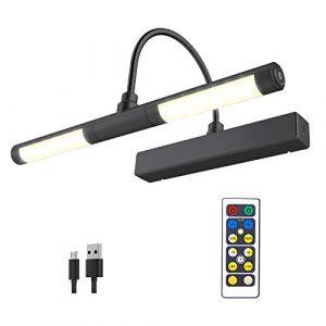 HONWELL Lampe d'image sans fil avec télécommande, tête d'éclairage LED rotative avec minuterie, applique murale à intensité variable pour peinture d'image, affichage d'illustration, noir (honwell, neuf)