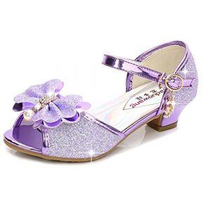 YOGLY Sandales Ceremonie Fille, Chaussure à Talon Enfant Ballerine Princesse avec Paillettes (EVERY, neuf)