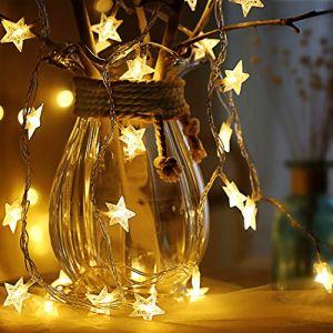 Guirlande lumineuse de Étoile,6M 40 Pcs LED à piles fairy lights, Monochrom à deux modes et décoration brillante foudre pour,Noël Chambre Chambre intérieure et extérieure (blanc chaud) (rock ninja, neuf)