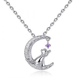 VIKI LYNN Collier argent pendentif chat mignon bijoux femme en argent fin 925 et zircon cadeau parfait pour les femmes filles (chat 1) (VIKI LYNN Direct, neuf)