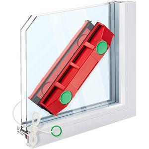 Raclette Lave Vitre Aimanté D-3 de Tyroler pour Double Vitrage Extra Large entre 20 à 28 mm Epaisseur - Nettoyeur Magnétique avec 2 Chiffons en Microfibre pour Vitre Extérieur en Difficile d'Accès (Tyroler Bright Tools, neuf)