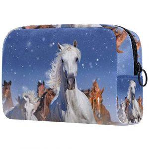 Trousse de toilette pour femmes et chevaux de course à pied dans la neige de soins de la peau cosmétique pratique poche zippée sac à main (YIOLO, neuf)
