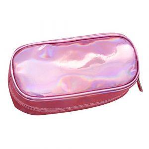 AISI surdimensionné holographique Cuir PU Trousse Bling Paillettes Sac de maquillage rose rose taille unique (MEGA UK, neuf)