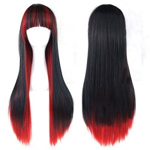 XIEWEICHAO Cos gradient noir perruque rouge avec perruque cheveux longs droites Anime perruque cosplay (Color : A) (XIEWEICHAO, neuf)