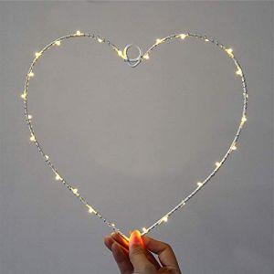 Lampe Amoureuse ChaîNe Suspendue Lampe En Fer Forgé Guirlande Lumineuse En Forme De Coeur Chaud Blanc Led DéCoration Murale (B) (FJROnline, neuf)
