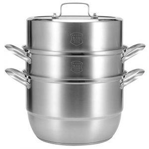 Cuiseur à vapeur à 3 niveaux, marmite à vapeur en acier inoxydable, raccord à rivets pour cuisinière à induction (Jimfotys, neuf)
