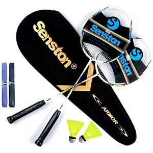 Senston Graphite Shaft Raquette de Badminton, Badminton Racket Set, comme Le Badminton Sac, Lot DE 2,2 Grip, 2 Volant (SST_SPORT, neuf)