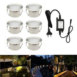 Spot à Encastrable Lampe de sol-Lumière(Blanc Chaud) étanche IP67 1W Ø45mm-éclairage pour terrasse, patio, chemin, mur, jardin, décoration, intérieur et extérieur(Lot de 6) (INDARUN-EU, neuf)
