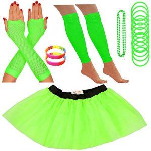 Redstar Fancy Dress - Tutu/guêtres/Mitaines résille/Collier de Perles/Bracelets en Caoutchouc/Bracelets Fluo - Vert - 42-50 (Redstar Online, neuf)