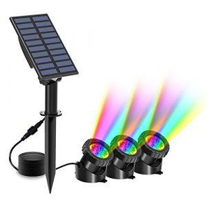 Lampe Solaire Bassin, RGB Lumière de Bassin à LED, Spots Solaire Sous-Marin avec 2 Modes, Éclairage de Bassin avec IP68 Étanche, RGB Changement Couleur Paysage Spots, Éclairage de Jardin?3pcs? (T-SUNLED, neuf)