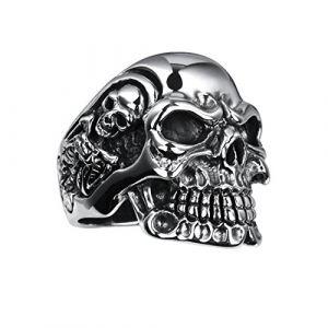 Rock&Ride Bague Vintage en argent sterling 925 Bague gothique tête de mort (LyaAC Store, neuf)
