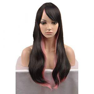 Novopus perruque? Ondulation Naturelle Rouge Cheveux Synthétiques Rouge/Noir Perruque Long Sans bonnet Noir/Rose:Moyenne (Novopus, neuf)