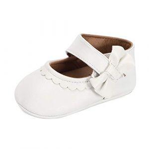 LACOFIA Ballerine Bébé Chaussure Premier Pas pour Bébé Fille Chaussures baptême Bowknot Antidérapant Blanc 6-12 Mois (Lacofia, neuf)