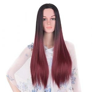 Perruque longue perruque droite perruque perruque perruque perruque cosplay anime perruque perruque longue perruque vin noir et rouge (petrichor87, neuf)
