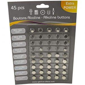 45 Piles Boutons Boutons Alcalines LR621 LR41 LR626 LR1130 LR43 LR44 AG1 AG3 AG4 AG10 AG12 AG13 - indiscount ® (indiscount ®, neuf)
