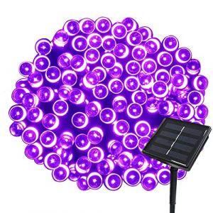 Tuokay 22M Guirlande Solaire 200 LED 8 Jeux de Lumière Guirlande Lumineuse Idéal pour Fête, Mariage, Anniversaire et Jardin Extérieur (Violet, 1 Pièce) (Tukai Trading, neuf)