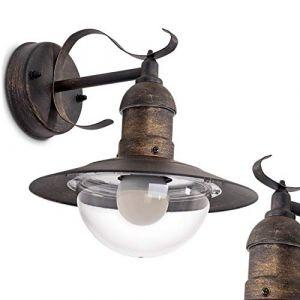 Applique murale extérieure Broni en métal finitions rouilles, lampe IP44 au style classique/rétro pour 1 ampoule E27 max 60 Watt, compatible ampoules LED (hofstein, neuf)