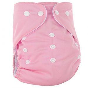 Happy Cherry Couche Lavable Bébé Fille Garçon - Couche-Culotte Respirant Anti-Fuite Culotte d'Apprentissage Imperméable Bouton Taille Réglable Imprimé (Sans Insert) 3-15kg Rose (OUJINGEU, neuf)