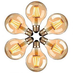 Ampoule Edison LED, massway Ampoule Edison Vintage G80 E27 4W Rétro Filament Ampoule décorative 2700K Blanc Chaud Antique Lampe Ampoule Incandescente - 6 pièces (Zacocos, neuf)