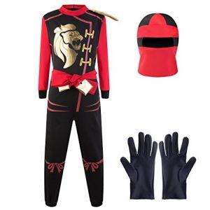 Katara - Combinaison de guerrier ninja pour garçons, revêtement pour carnaval, onesie de combat pour enfant, tenue de combattant - dégusiement Kai, rouge - Taille M (6-8 ans) (Katara FR, neuf)