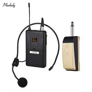 Festnight Muslady UHF Microphone sans fil Micro Système avec récepteur Émetteur Casque Microphone pour réunion d'affaires Discours public Enseignement en classe (RanceRot, neuf)