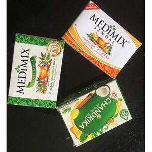 3 Savon ayurvédique Medimix classic, Chandrika et Medimix Sandal et Eladi oils, 2 Medimix de 125 Gram et chandrika de 75 Grammes (ELEGANCE INDIAN STORE, neuf)