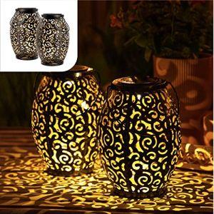 Gadgy 2 jeux de lanterne solaire exterieur ovales | pour decoration jardin | Lampe marocaine avec effet d'ombre | éclairage étanche pour suspendre, table ou terrasse (Gadgysales, neuf)