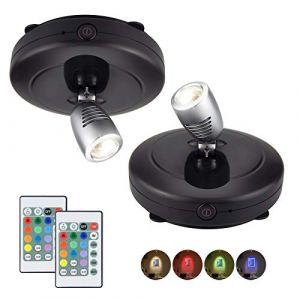 HONWELL Projecteur LED sans fil à piles avec télécommande, éclairage de jeu de fléchettes Lampe d'accent pour éclairage de photos rotatives pour escalier de cuisine de peinture miroir,2 pièces, noir (honwell, neuf)