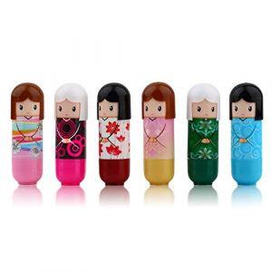Kimono Poupée Rouge À Lèvres Mignon Beau Motif Cadeau Pour Fille Dame Colorée Fille Baume À Lèvres Nouvel An Joli Présent (ZengBurs, neuf)