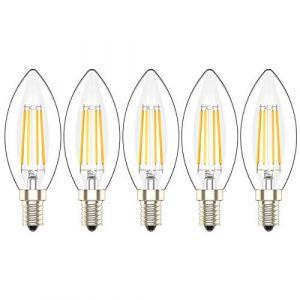 5X Dimmable Ampoules LED à Vis Petit Culot E14 Ampoule Bougie a Flament 4W,équivalent Ampoule à Incandescence de 30 W, Blanc Chaud 2700 K,AC 220V (Atesny, neuf)