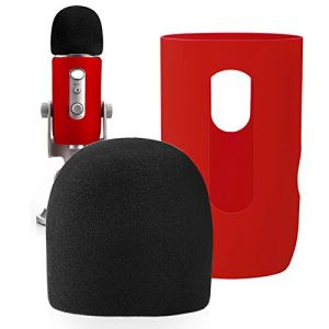 YOUSHARES Microphone Bonnette en Mousse à Blue Yeti, Yeti Pro pour Anti-Vent Pop Filtre, Protector for Blue Yeti, Yeti Pro Condenser Micro(ROUGE) (Heartorigin-FR Direct, neuf)