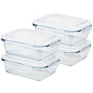 Grizzly Boîte Alimentaire en Verre Hermétiques avec Couvercle Lot de 4 Rectangulaires 640 ML - Boîtes Conservation sans BPA (AGAN UG, neuf)