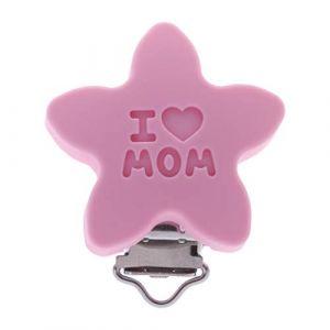 Chiic Silicone Sûr Bébé Sucette Clips, Mignonne Forme d'étoile Attache pour mannequin pour nouveau-né Bébé Dentition (Rose) (Xiangrun, neuf)