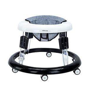 Trotteur Bebe, Pliable Pousseur Trotteur pour Bebe avec Frein et Coussin Hauteur Rétractable et 8 Pouces Universels, Charge Maximale 20KG (Coussin Gris Lin) (Lumocell, neuf)
