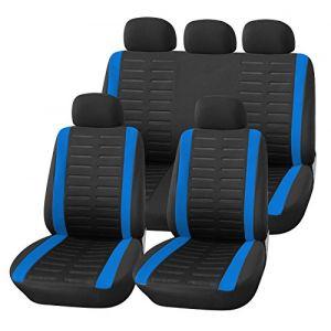 upgrade4cars Housse de Siege Voiture Universelle Bleu Noir | Ensemble de Housses Siège Auto Universel | Couvre Sieges pour Avant et Arrière | Accessoires Tuning Interieur (upgrade4cars, neuf)
