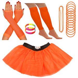 Redstar Fancy Dress - Tutu/guêtres/Mitaines résille/Collier de Perles/Bracelets en Caoutchouc/Bracelets Fluo - Orange - 42-50 (Redstar Online, neuf)