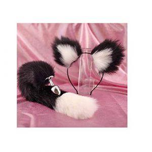 Serre-tête en fausse queue de renard et oreilles de chat Noir (Pavian, neuf)