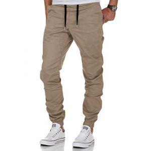 Homme Jogging Sport Survêtement Coton Slim Fit Pantalon Jogging (Kaki, Large) (The Aron ONE, neuf)