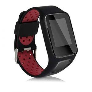 kwmobile Bracelet Compatible avec Tomtom Adventurer/Runner 3/Spark 3/Golfer 2 - Bracelet de Rechange en Silicone pour Fitness Tracker Noir-Rouge (KW-Commerce, neuf)