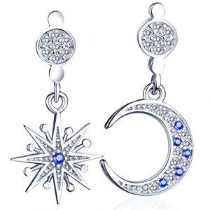 Infinite U Boucle d'oreille la lune et l'étoile orné zircon brillant en S925 argent Clou d'oreille élégant blanc et bleu pour femme fille (Infini U, neuf)