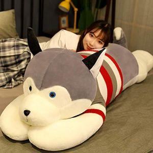 Peluche jouet husky oreiller de sommeil chiffon poupée femelle mignon poupée cadeau d'anniversaire-Husky-Grey_85cm (lizhaowei531045832, neuf)
