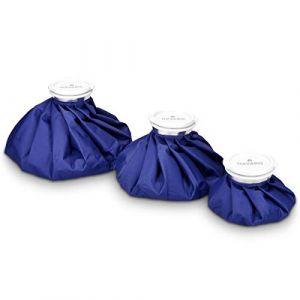 Navaris Set 3x poche de glace - Sac de chaleur et de froid réutilisable pour soulagement de douleur - Vessie de glace 3 tailles - bleu (KW-Commerce, neuf)