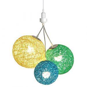 Luminaire Suspension E27-100% prêt à l'emploi sans outils - A visser directement sur une douille E27 - Télécommande sans fil - 3 boules en chanvre naturel - 3 ampoules LED E27 incluses (3x9W)-Borneo (Lighting Arena, neuf)