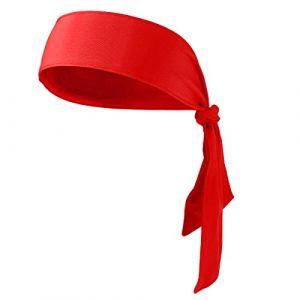 Lurrose Head Tie Bandeau de sport serre-tête bandeau pour la course à pied de travail Karaté Athlétisme Pirate Costumes (Rouge) (Vestle, neuf)