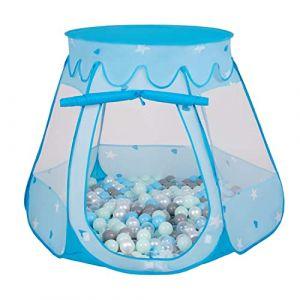 Selonis Tente Château avec Les Balles Plastiques Piscine À Balles pour Enfants, Bleu: Perle-Gris-Transparent-Babyblue-Menthe,105X90cm/100 Balles (OtherEden &  DUmalDU, neuf)