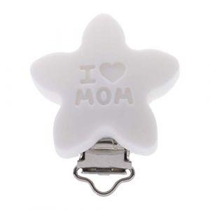 Chiic Silicone Sûr Bébé Sucette Clips, Mignonne Forme d'étoile Attache pour mannequin pour nouveau-né Bébé Dentition (Blanc) (Xiangrun, neuf)