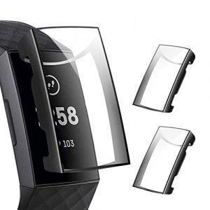 CAVN Compatible avec Fitbit Charge 3 Protection écran Coque [Pack de 2], Protecteur étui Rechargeable TPU Couverture Complète Ultra Mince Anti-Rayures Anti-Choc écran étui (Black & Black) (QY DIRECT, neuf)